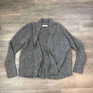 LOFT Chunky Knit Open Front Grey Taupe Cardigan L